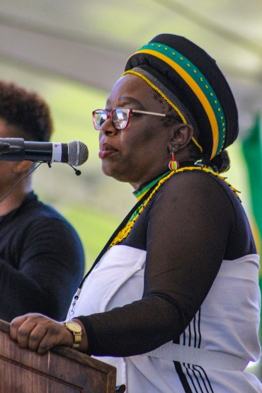 The MEC of Sport, Recreation, Arts and Culture, Bulelwa Tunyiswa addressed the crowd at Miki Yili stadium before the president spoke at the 2019 Freedom Day Celebrations. Photo: Stephen Kisbey-Green