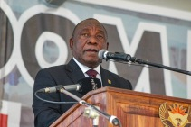 His Excellency, The President of the Republic of South Africa, Cyril Ramaphosa addresses the crowd at Miki Yili for the 2019 Freedom Day Celebrations. Photo: Stephen Kisbey-Green