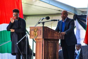 The Premier of the Eastern Cape, Phumulo Masualle addressed the crowd ahead of the President at the 2019 Freedom Day Celebrations at Miki Yili. Photo: Stephen Kisbey-Green