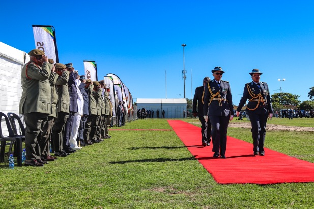 President Cyril Ramaphosa is escorted by his guard of honour past the gathered generals before the presidential salute at Miki Yili Stadium. Photo: Stephen Kisbey-Green