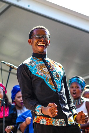 The conductor of the Makhanda-based Kwantu Choir, from Makhanda himself, was overjoyed to have his choir perform for the President of South Africa. Photo: Stephen Kisbey-Green