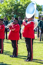 The military marching band performs ahead of President Ramaphosa's arrival at Miki Yili stadium. Photo: Stephen Kisbey-Green