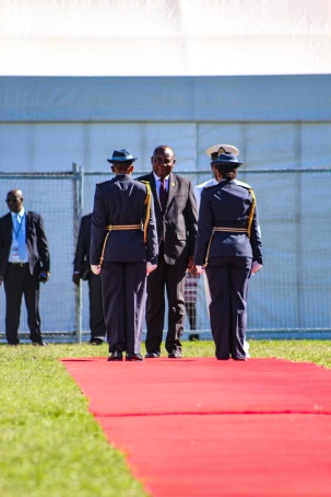 President Cyril Ramaphosa is escorted by his guard of honour before the presidential salute at Miki Yili Stadium. Photo: Stephen Kisbey-Green