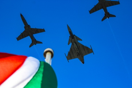 The training jets from different air force bases across South Africa flew over the military proceedings ahead of the president's official address. Photo: Stephen Kisbey-Green