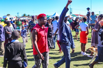 Supporters of the EFF showed up at Miki Yili during the 2019 Freedom Day Celebrations, after the President, Cyril Ramaphosa, had left the area. Photo: Stephen Kisbey-Green