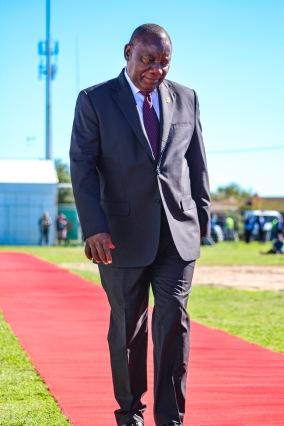 President Cyril Ramaphosa enters the Miki Yili Stadium for the 2019 Freedom Day Celebrations. Photo: Stephen Kisbey-Green