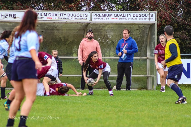 Tullow RFC look to clear the ball from the base of the ruck. Photo: Stephen Kisbey-Green