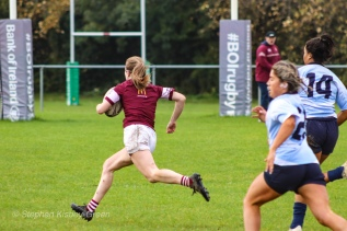 Tullow RFC break through for their second try of the match. Photo: Stephen Kisbey-Green