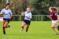 Leah Reilly runs around the Tullow defence with Eimear Corri in support on the wing. Photo: Stephen Kisbey-Green