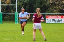 Eimear Corri lines up a one on one against Tullow RFC. Photo: Stephen Kisbey-Green