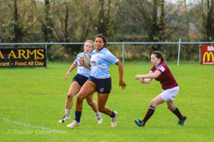 Eimear Corri steps outside the reach of the defender with Leah Reilly in support. Photo: Stephen Kisbey-Green
