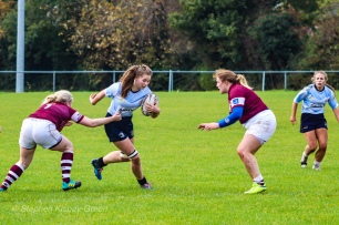 Nikki Gibson makes a strong run into the Tullow defence. Photo: Stephen Kisbey-Green