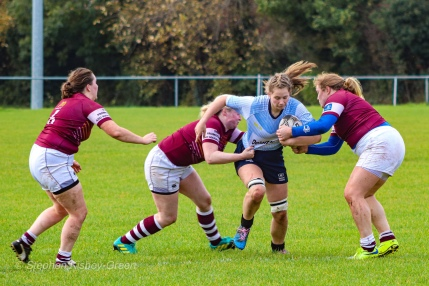 Nikki Gibson makes a strong carry into the Tullow defence. Photo: Stephen Kisbey-Green