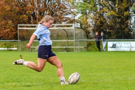 Leah Reilly lines up the conversion attempt. Photo: Stephen Kisbey-Green