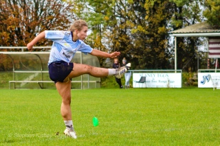 Perfect form after the conversion, Leah Reilly was solid with the boot against Tullow. Photo: Stephen Kisbey-Green