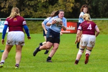 Kate Jordan prepares to carry hard into defence. Photo: Stephen Kisbey-Green