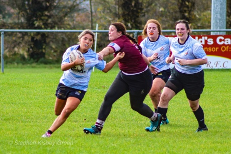 Zoe Valentine outrunning the long arm of the Tullow defence. Photo: Stephen Kisbey-Green