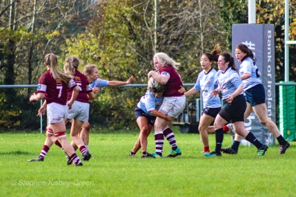 Zoe Valentine puts in a big hit on defence against Tullow RFC. Photo: Stephen Kisbey-Green