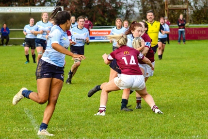 Eimear Corri watches on looking for the pass from Keely Doonan. Photo: Stephen Kisbey-Green