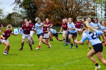 Kirara Kirasha swings the ball wide to Aine McGroarty. Photo: Stephen Kisbey-Green