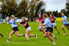 Aine McGroarty carries well with Leah Reilly and Kirara Kirasha in support. Photo: Stephen Kisbey-Green