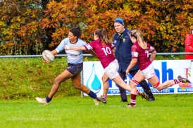 Eimear Corri protecting the ball as she tries to fend off the defence. Photo: Stephen Kisbey-Green