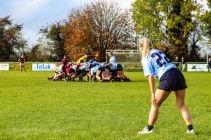 Aine McGroarty gets ready on the wing, waiting for the ball to come out of the scrum. Photo: Stephen Kisbey-Green
