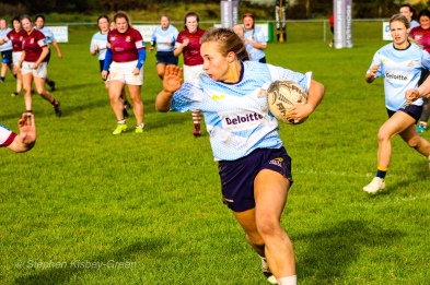 Leah Reilly steps the defence and looks to hand off. Photo: Stephen Kisbey-Green