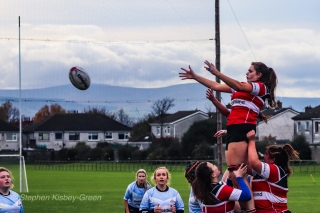 Wicklow LRFC and DCU LRFC compete at the lineout. Photo: Stephen Kisbey-Green