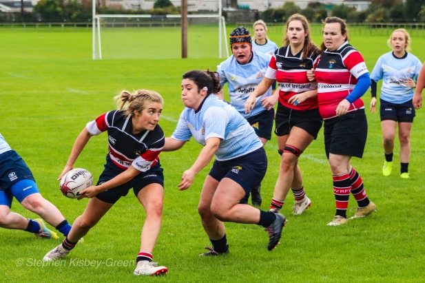 Kasey O'Brien lines up the tackle for DCU against Wicklow RFC. Photo: Stephen Kisbey-Green