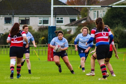 Kasey O'Brien prepares to take take the ball into contact for DCU. Photo: Stephen Kisbey-Green