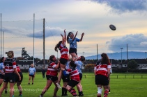Sophie Kilburn goes up to compete at the lineout against Wicklow RFC. Photo: Stephen Kisbey-Green