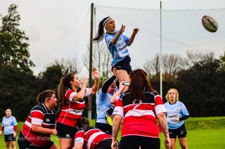 Sophie Kilburn competes at the lineout against Wicklow RFC. Photo: Stephen Kisbey-Green