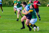Hannnah Heskin is tackled after a massive breakaway in the beginning of the match. Photo: Stephen Kisbey-Green