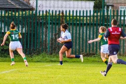 Eimear Corri bursts up the wing to score DCU's first try of the match. Photo: Stephen Kisbey-Green