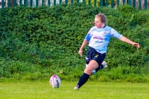 Leah Reilly lines up perfectly for the conversion attempt. Photo: Stephen Kisbey-Green