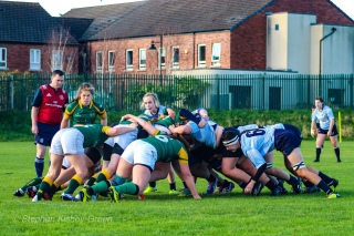 The scrums were very competitive in DCU's match against Railway RFC. Photo: Stephen Kisbey-Green