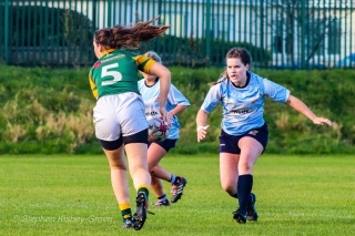 Hannah Heskin lines up a massive hit on defense against Railway RFC. Photo: Stephen Kisbey-Green