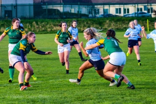 Aine McGroarty looks to break the Railway defense with a strong run. Photo: Stephen Kisbey-Green