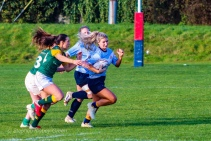 Aine McGroarty uses the space out wide against Railway RFC. Photo: Stephen Kisbey-Green