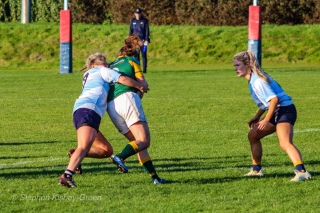 Zoe Valentine made a number of important tackles throughout DCU's game against Railway. Photo: Stephen Kisbey-Green