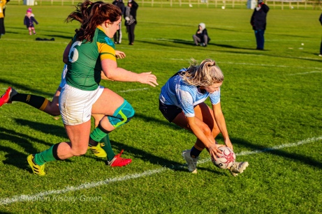 Aine McGroarty touches down for DCU against Railway. Photo: Stephen Kisbey-Green