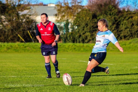 Leah Reilly kicks the conversion after Aine McGroarty's try. Photo: Stephen Kisbey-Green