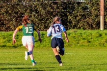 Leah Reilly makes another break to set up Eimear Corri for the try. Photo: Stephen Kisbey-Green