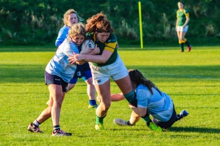 Zoe Valentine helping out her teammate in making a big tackle against Railway. Photo: Stephen Kisbey-Green
