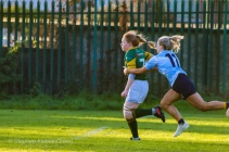 Aine McGroarty reels in the Railway fullback with some good cover defense. Photo: Stephen Kisbey-Green