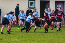 DCU crash the ball up against Tullamore. Photo: Stephen Kisbey-Green