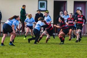 DCU crash the ball up against Tullamore. Photo: Stephen Kisbey-Green