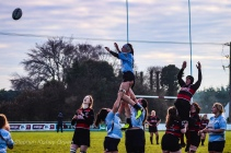 Sophie Kilburn jumps to compete at the lineout against Tullamore. Photo: Stephen Kisbey-Green