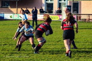 Hannah Heskin repositions herself in order to make a tackle against Tullamore. Photo: Stephen Kisbey-Green